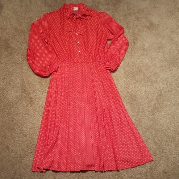 Vtg 70s Plus Polka Dot Secretary Dress sz 18